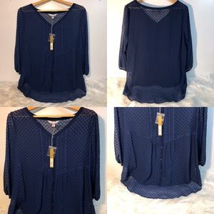 LC Lauren Conrad Shirred Peasant Top Navy Blue XL